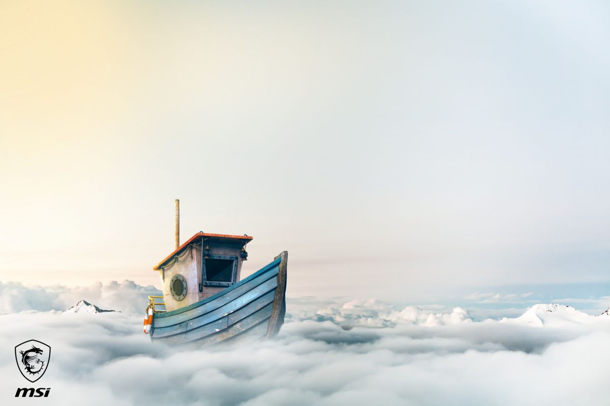 photo manipulation cloud boat