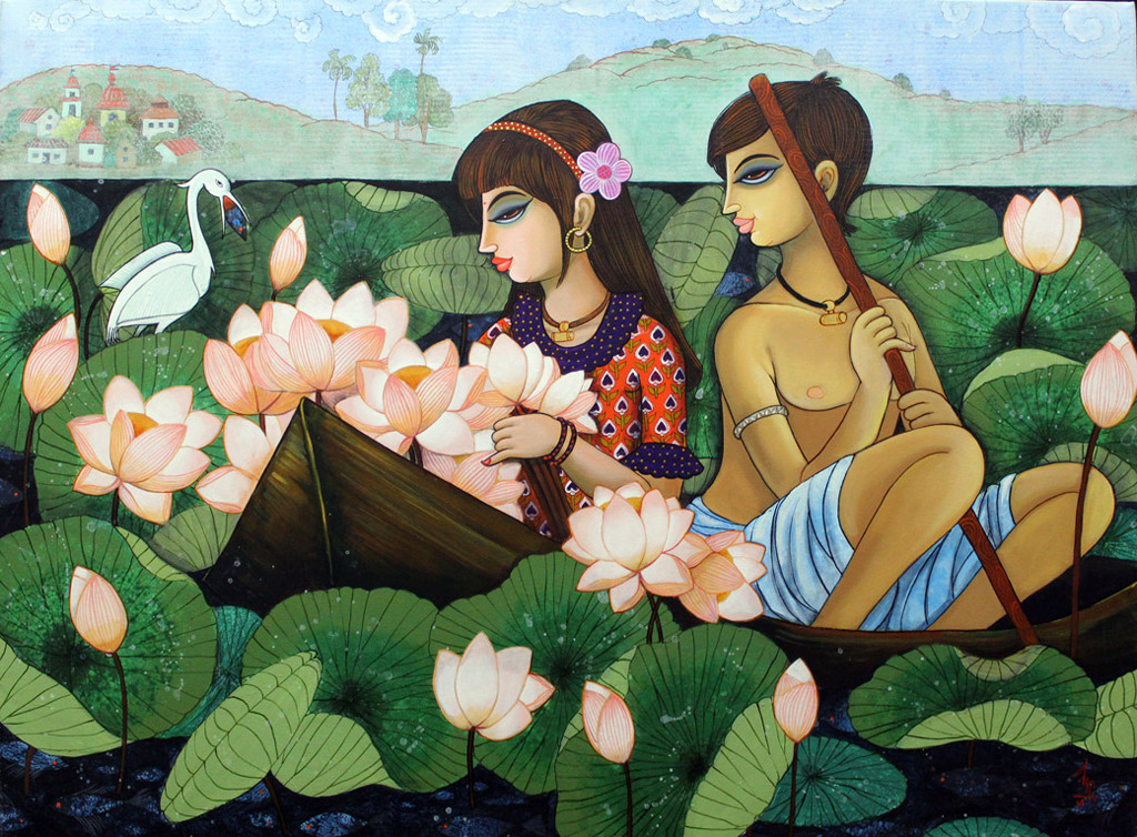 indian painting woman lotus lake