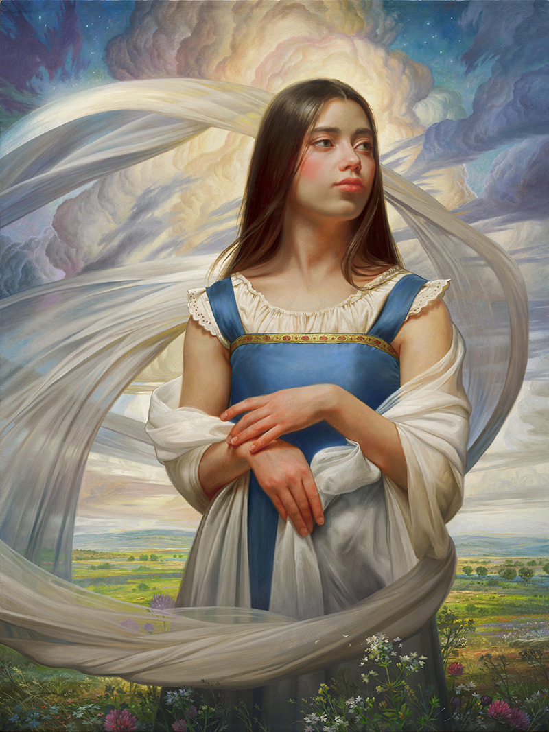 realistic oil painting girl ella by howard lyon