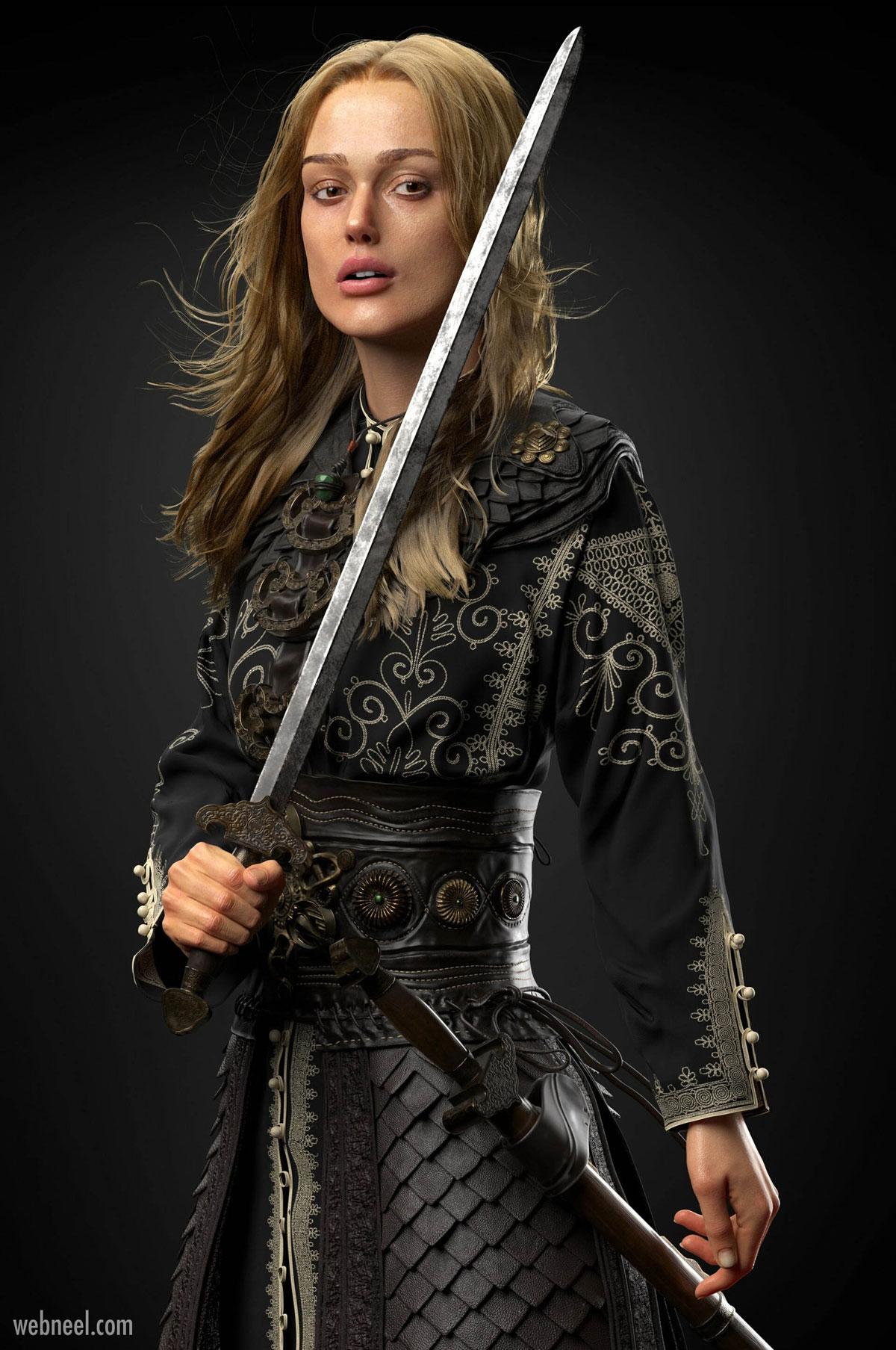 3d model fantasy girl game character fighter
