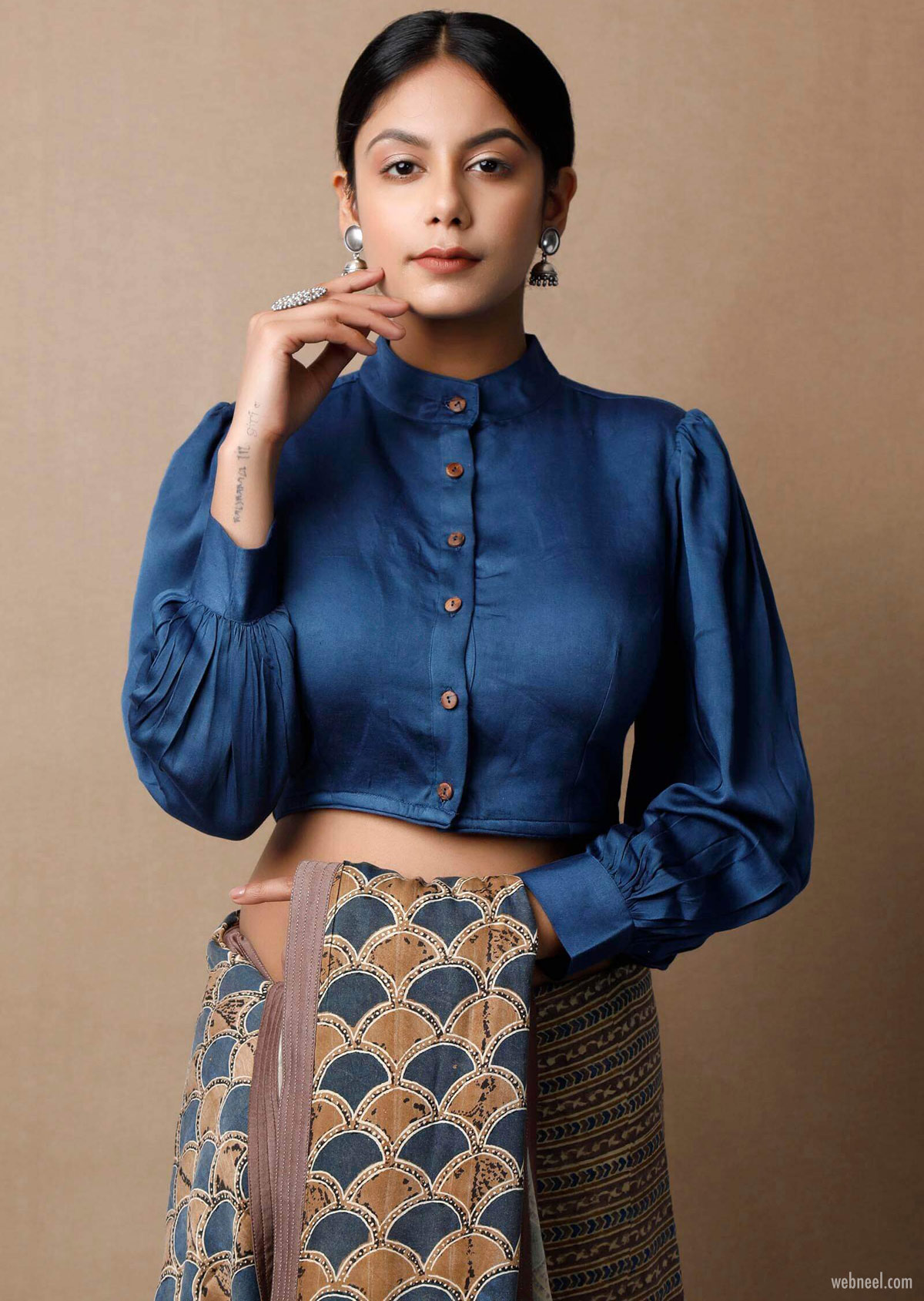 blouse design high neck in shirt style