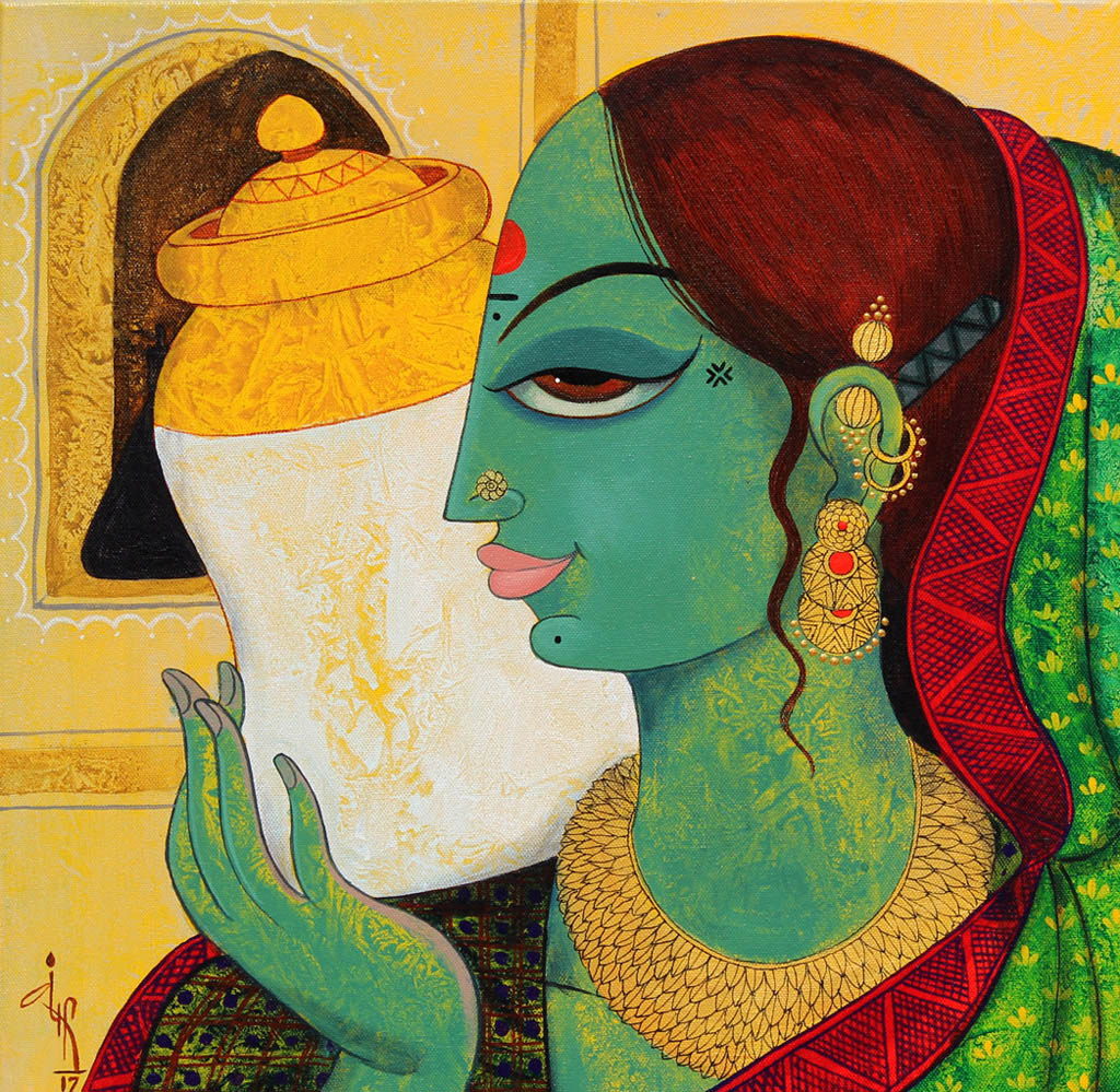 indian painting woman jar