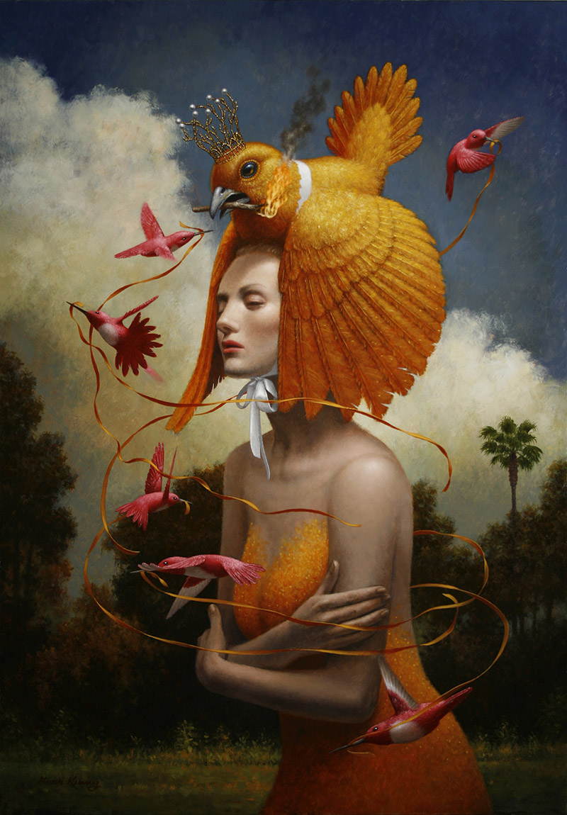 surreal oil painting woman with bird by steven kenny