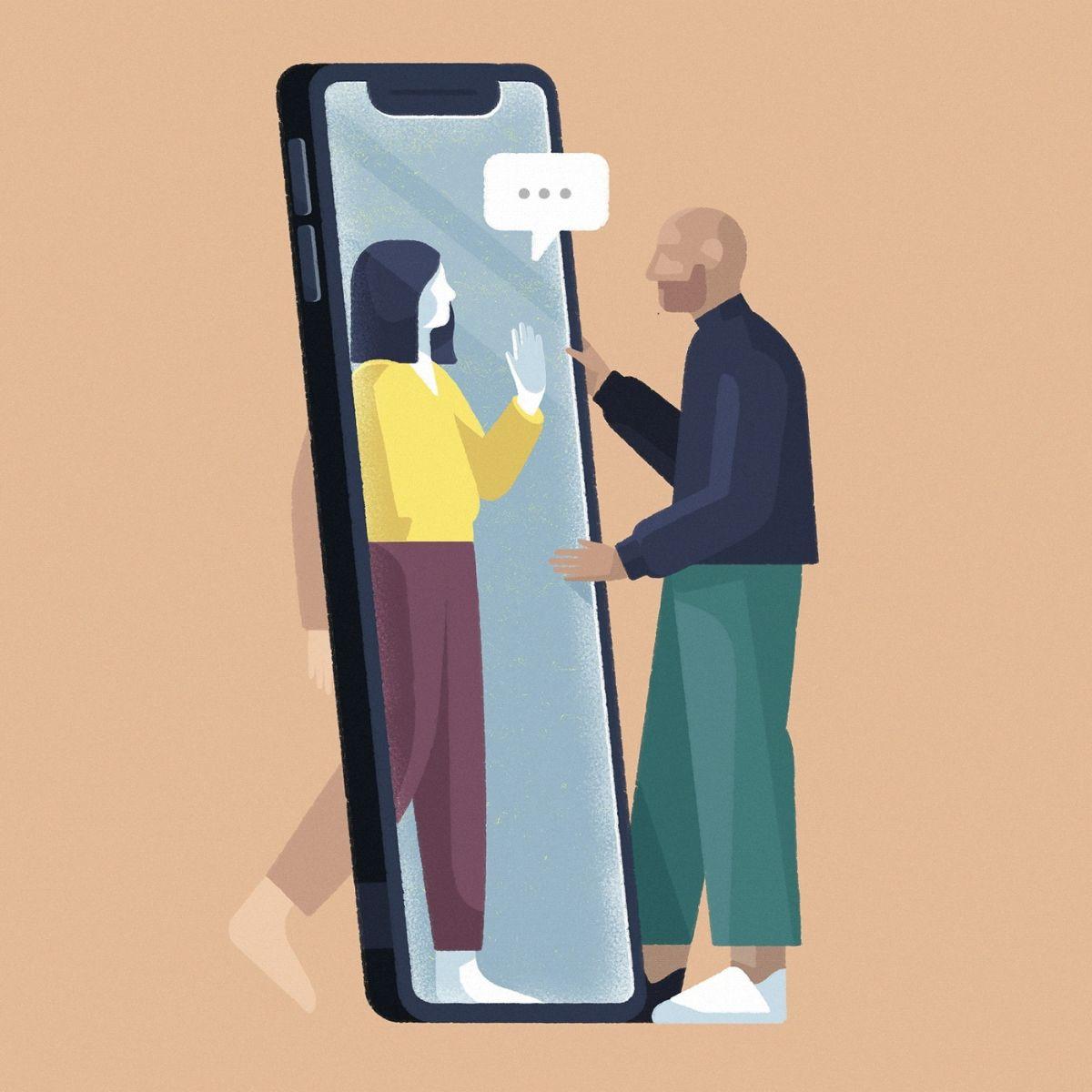 digital illustration corona social distance