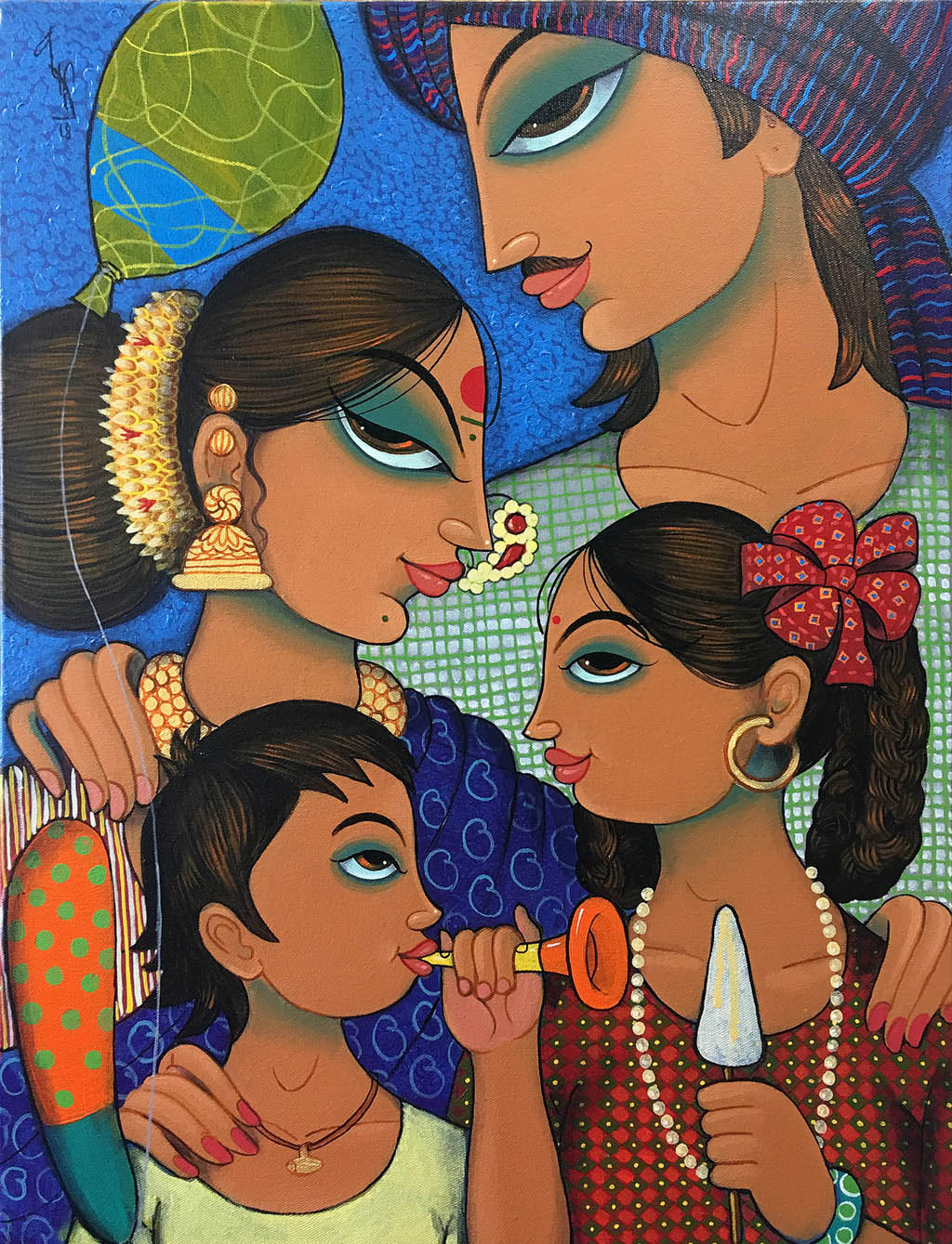 indian painting woman family