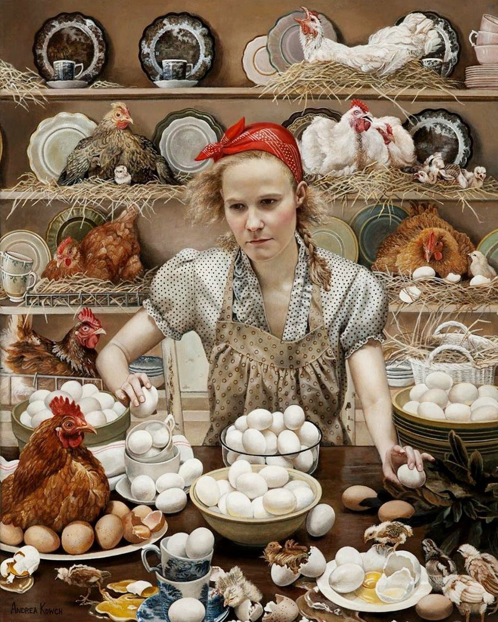 acrylic painting woman with hen eggs by andrea kowch