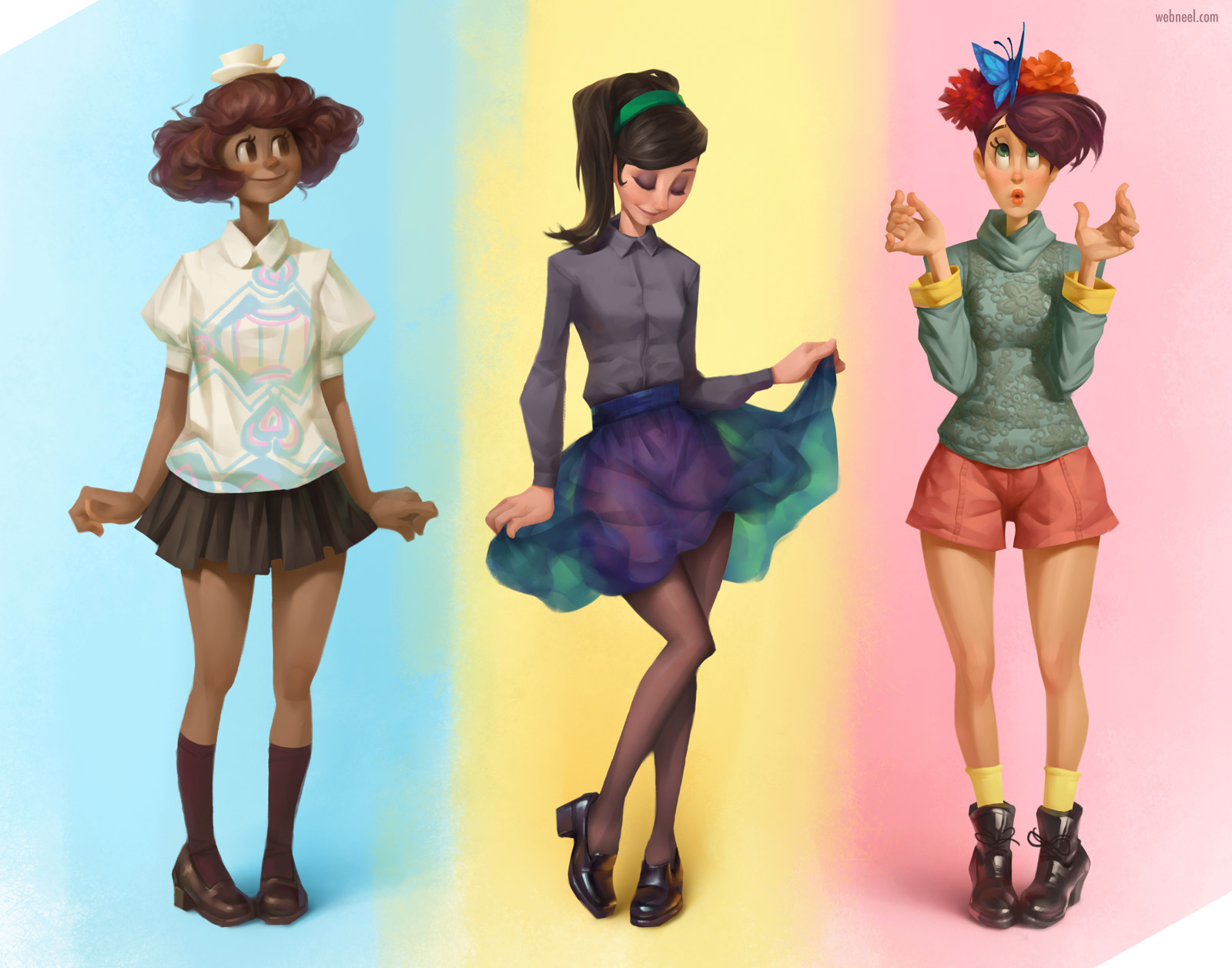 drawing cartoon character modern girls by johnnyfan