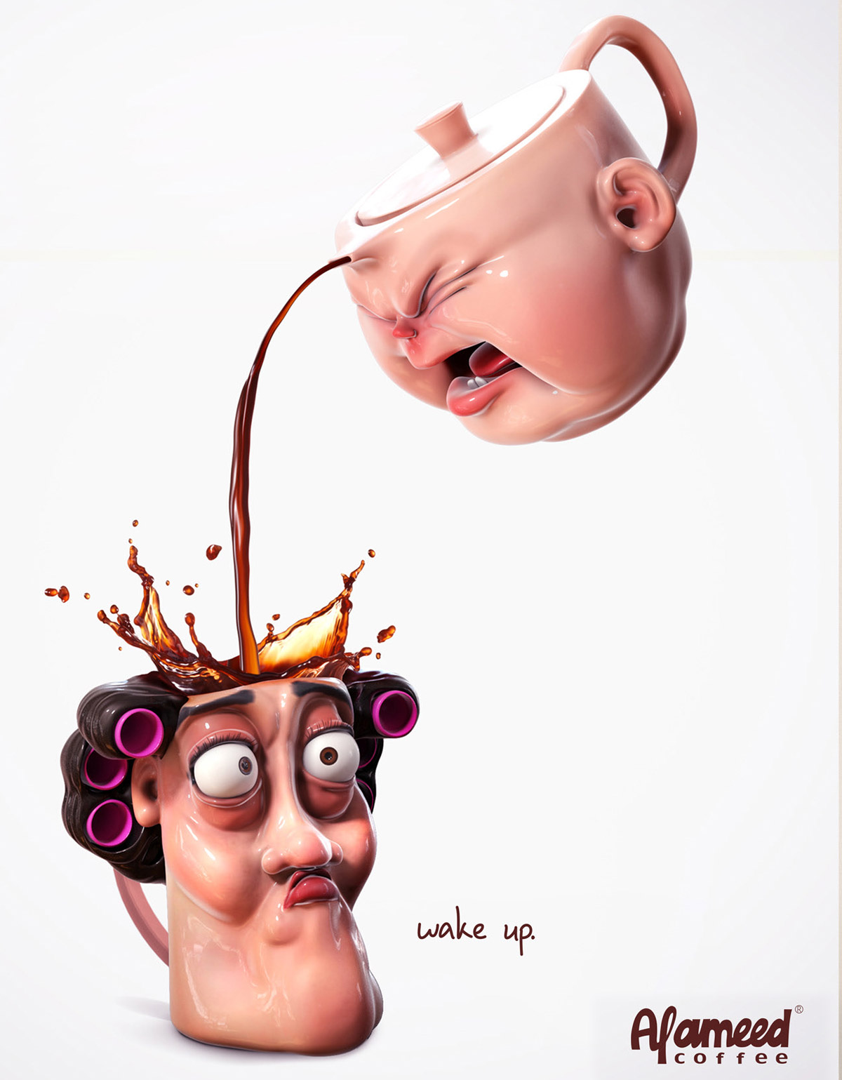 funny ad 3d model alameed coffee by zayd abidi