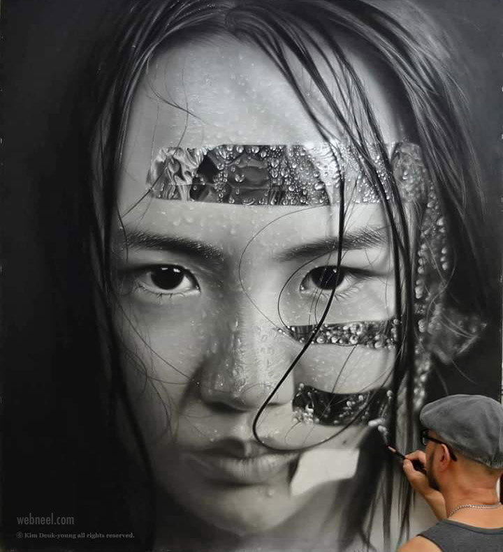 painting artwork hyper realistic portrait by kim deukyoung