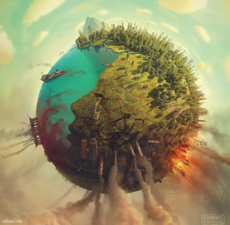 photo manipulation earth face by gediminas pranckevicius