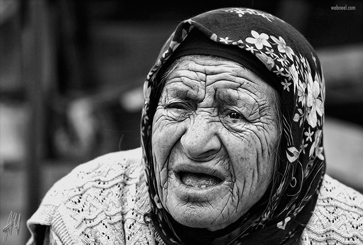 portrait photography old woman monochrome by aytac yildirim