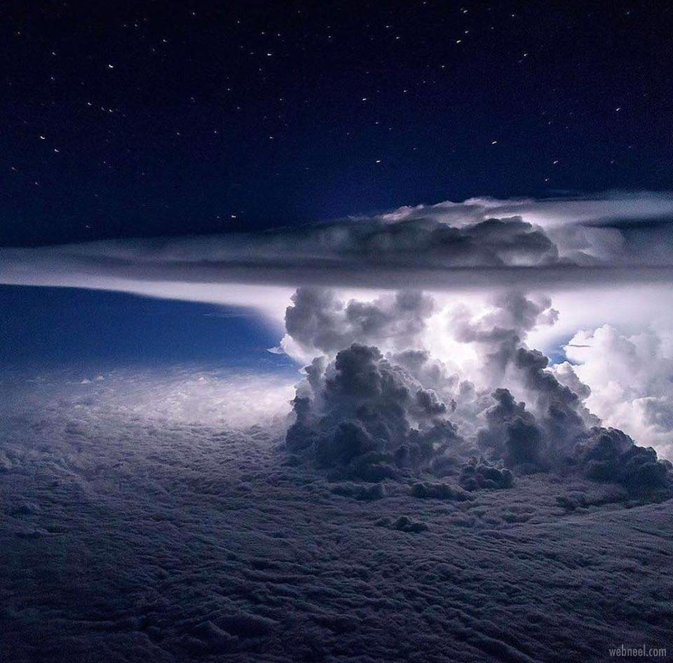 thunder storm clouds photography from an aircraft