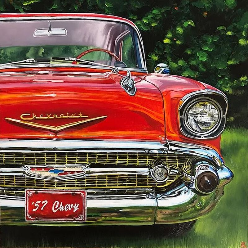 hyper realistic oil painting checy car