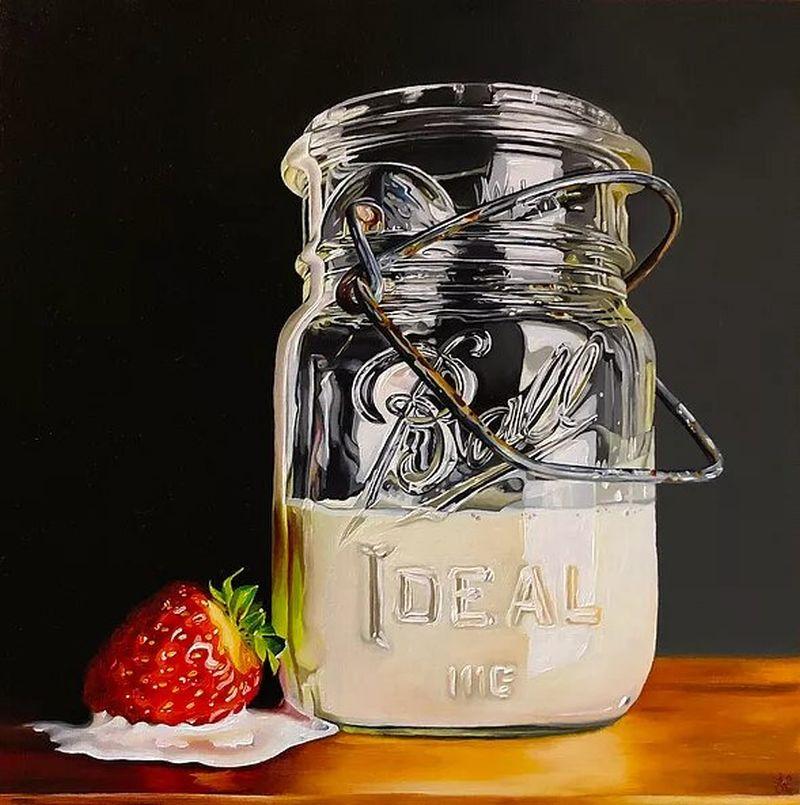 hyper realistic oil painting pot de creme