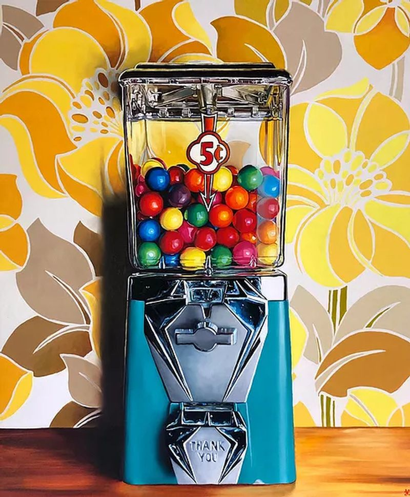 hyper realistic oil painting blue gumball machine