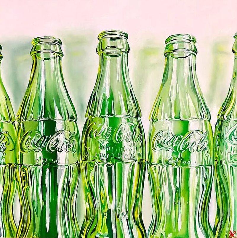 hyper realistic oil painting green bottle