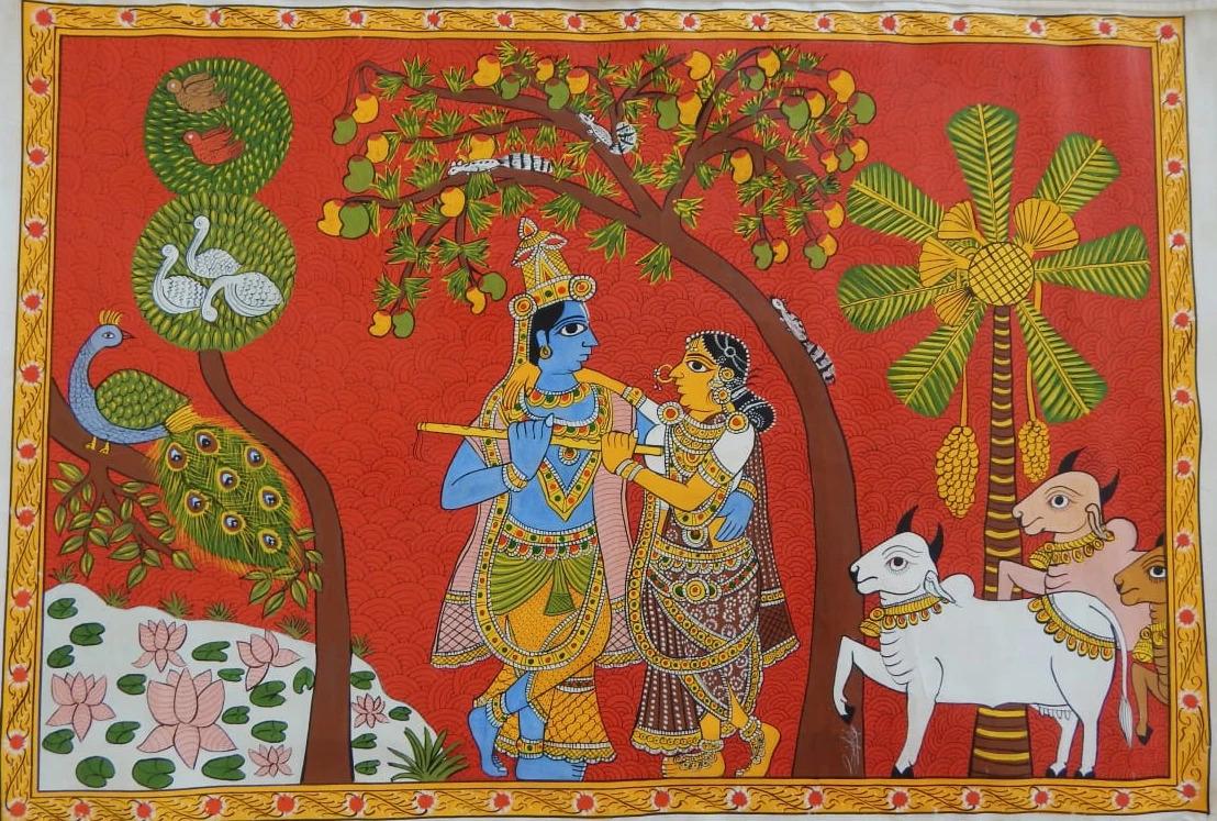 cheriyal painting radha krishna