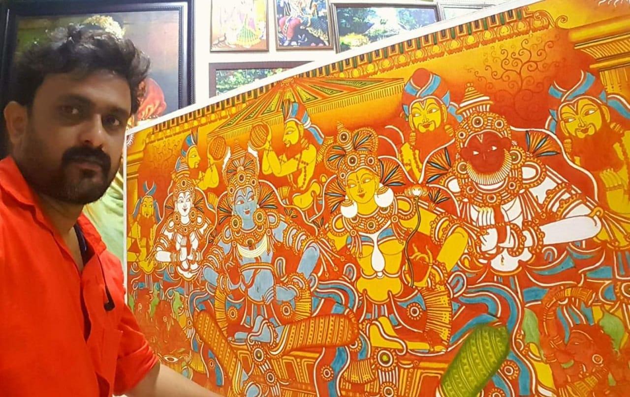 kerala mural artist naveen bhaskaran