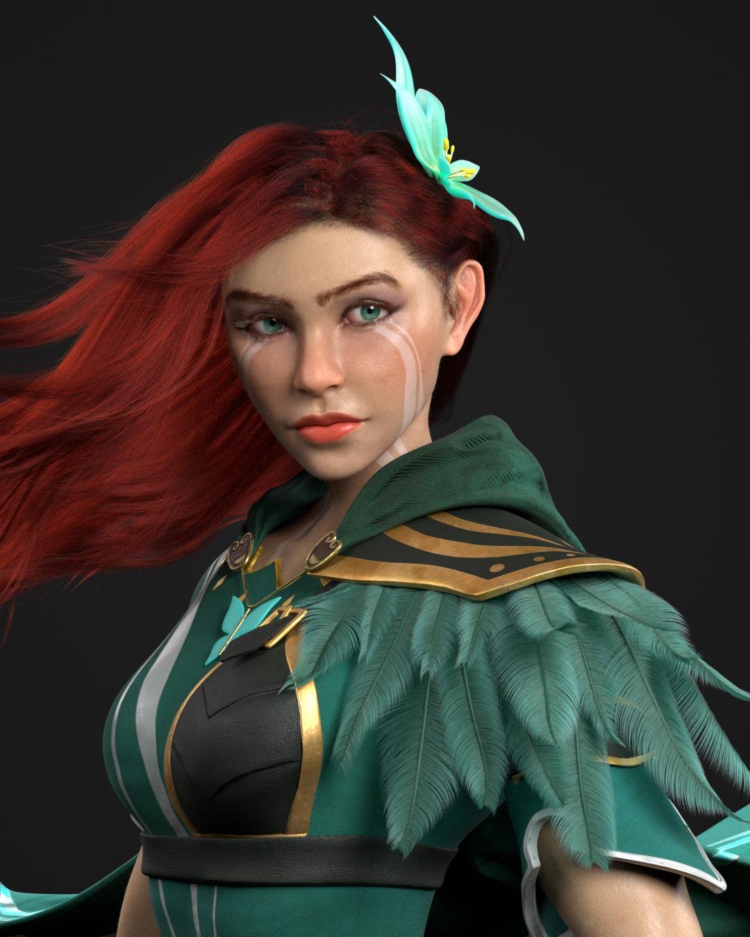 3d model woman windranger by enkhbayar avirmed