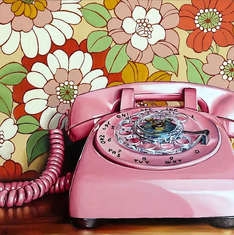 hyper realistic oil painting telephone