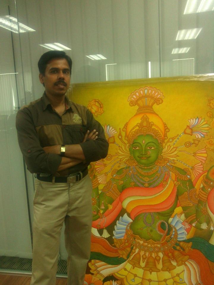 famous kerala muralist vr krishnan