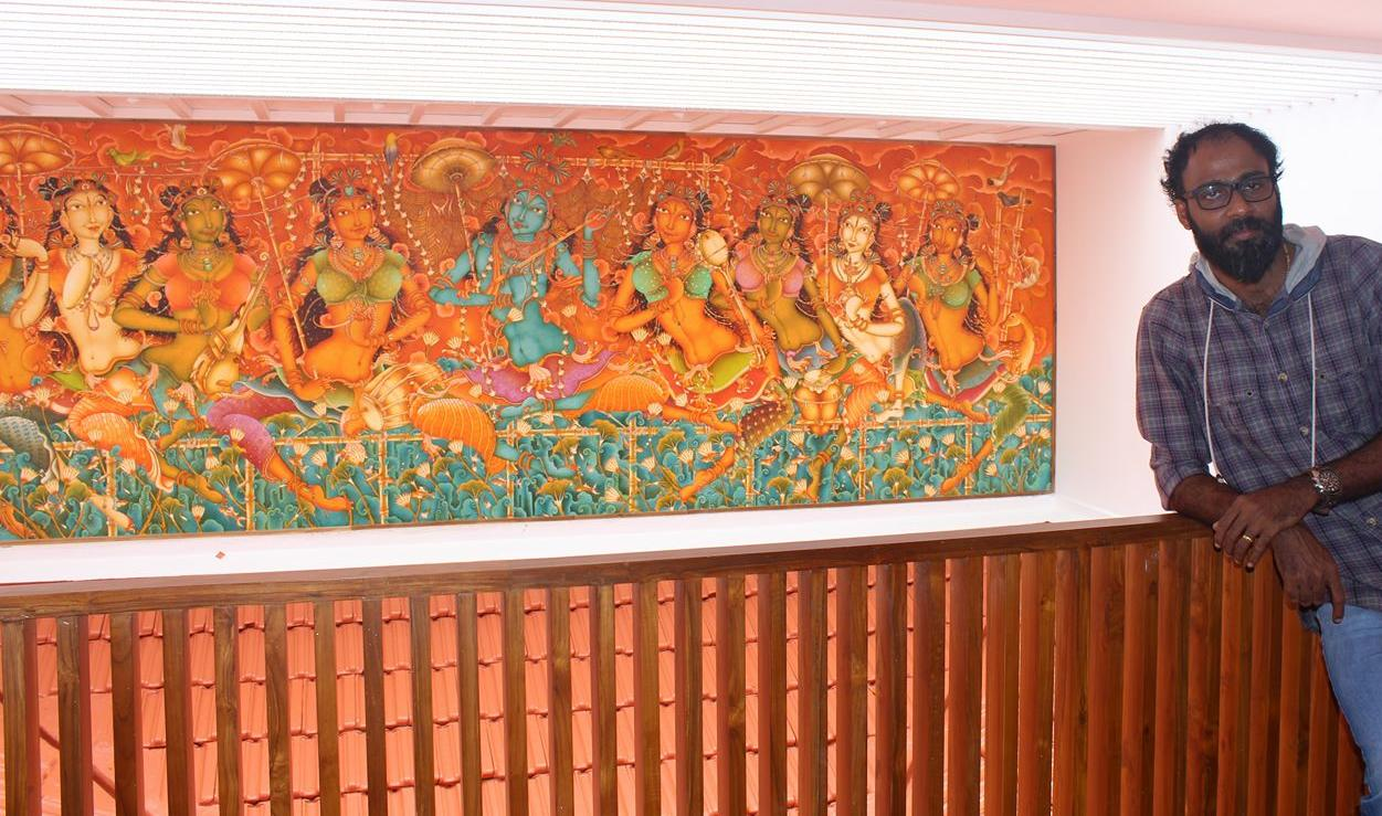 beautiful keral mural painting krishna radha by manikandan punnakkal