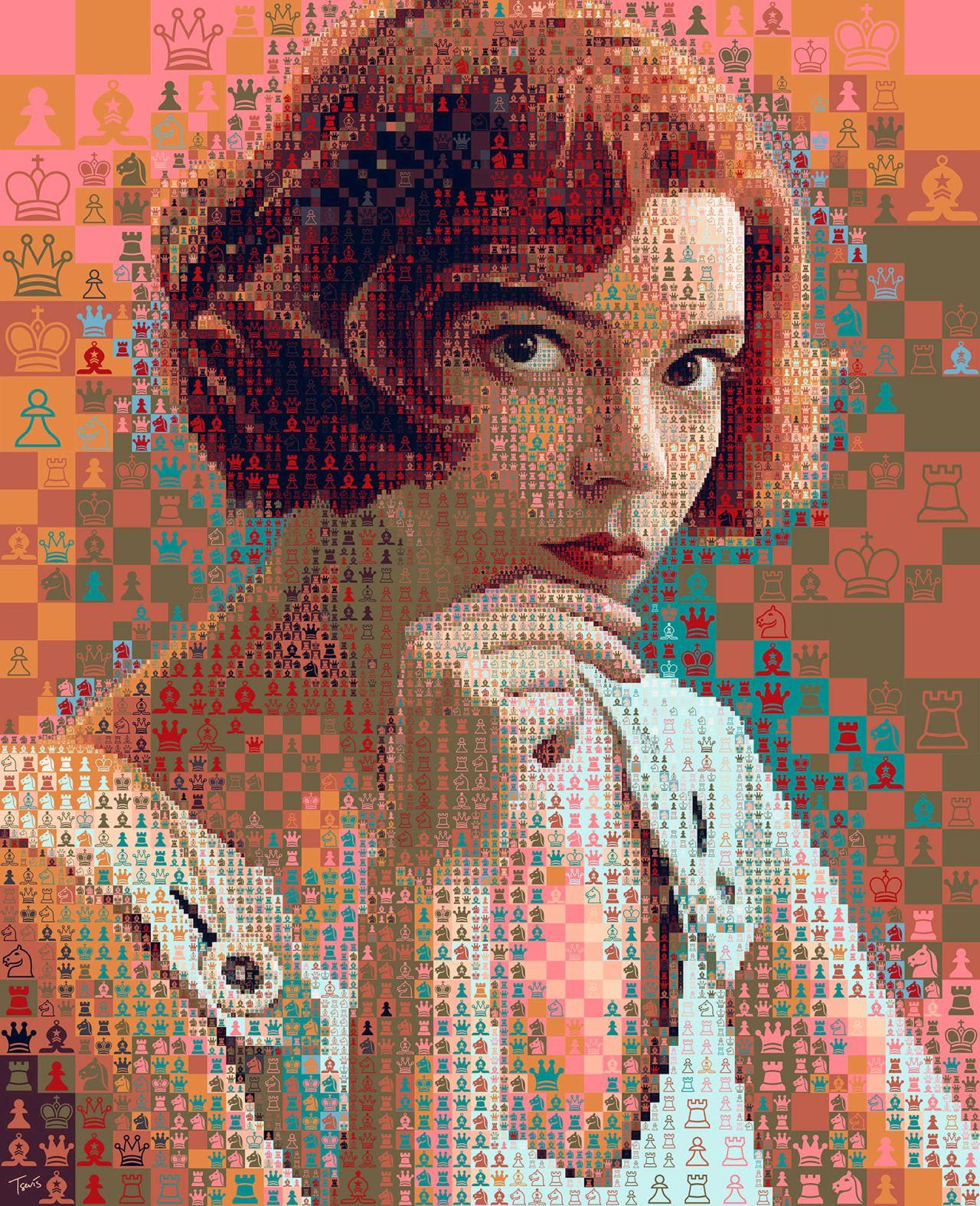 photo mosaic queen gambit