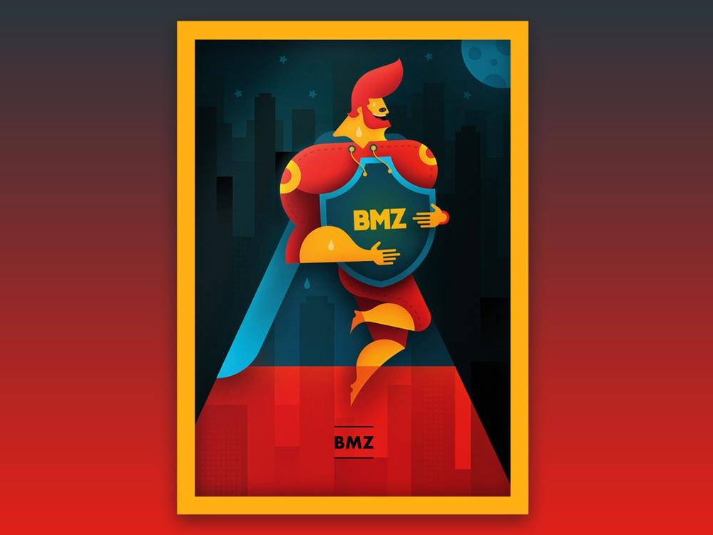 digital illustration of bmz poland by kamil bialogrzywy