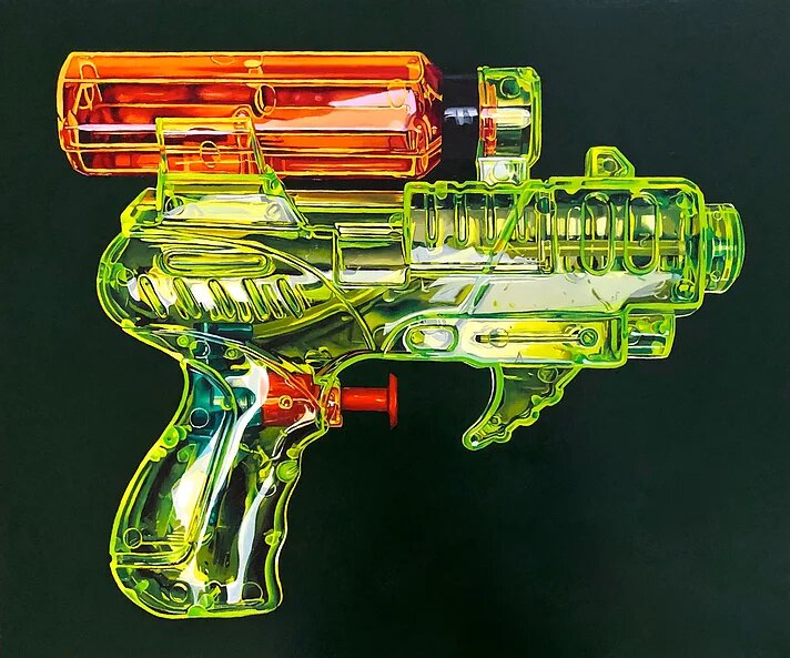 hyper realistic oil painting water gun