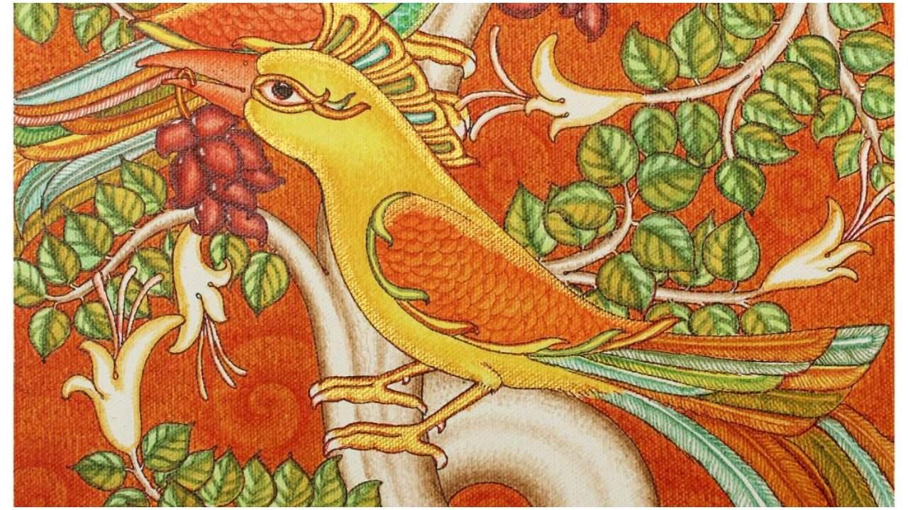 mural painting parakeets by vishnu p vikraman