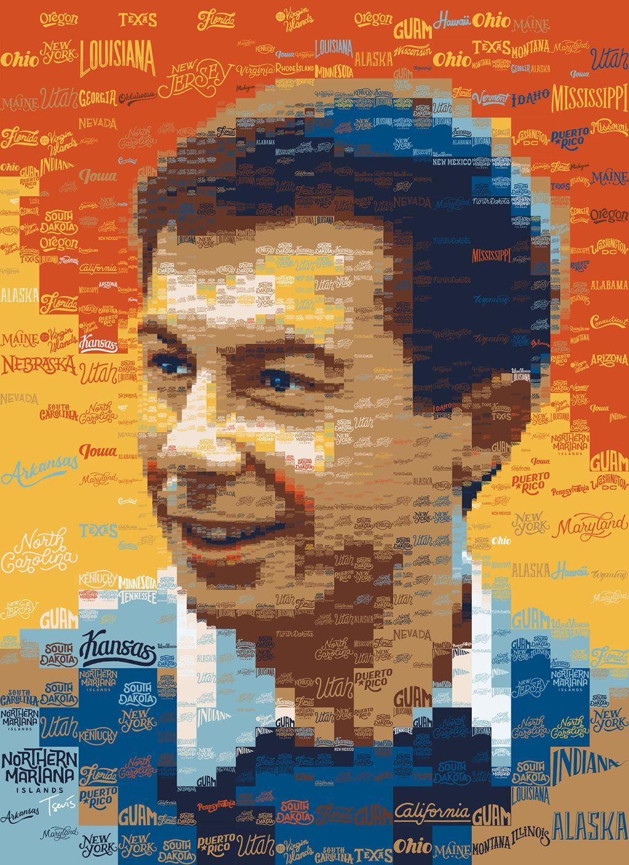 portrait photo mosaic of pete buttigieg