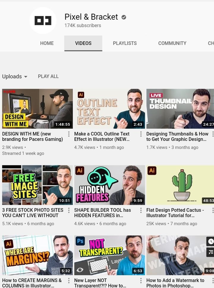 top graphic design youtube channel pixel and bracket