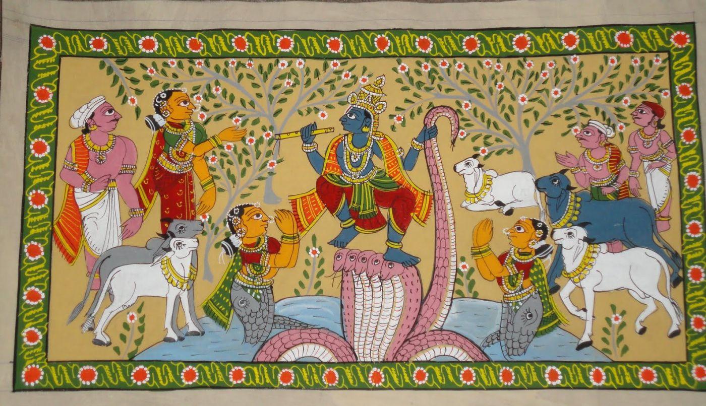 andhra pradesh scroll painting kaliya mardan