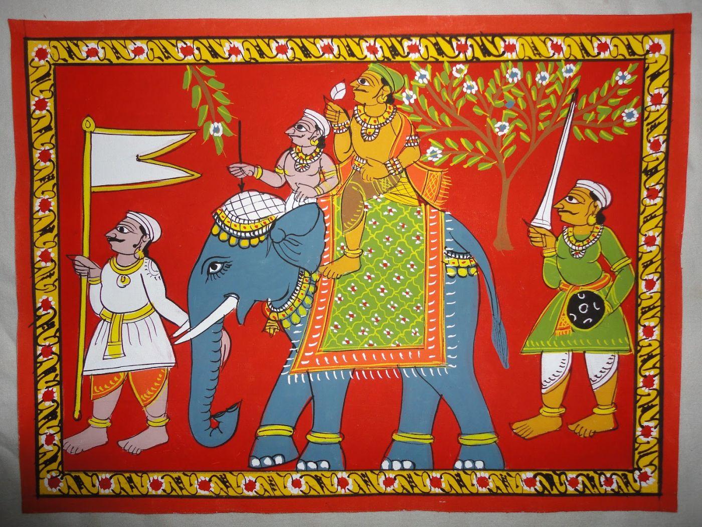 beautiful cheriyal scroll painting elephant ride