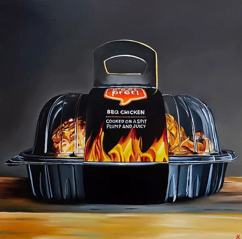 hyper realistic oil painting rotisserie chicken