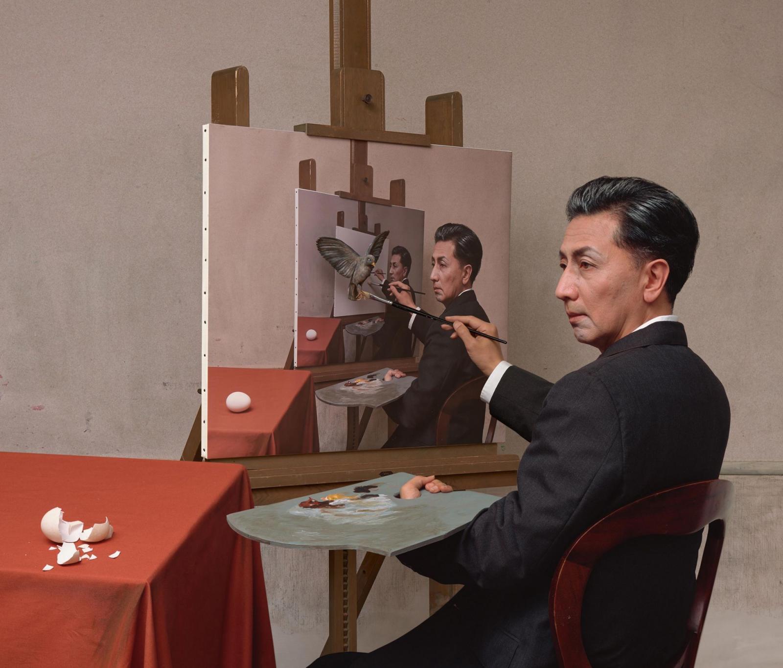 famous self portrait painting droste by yasumasa morimura