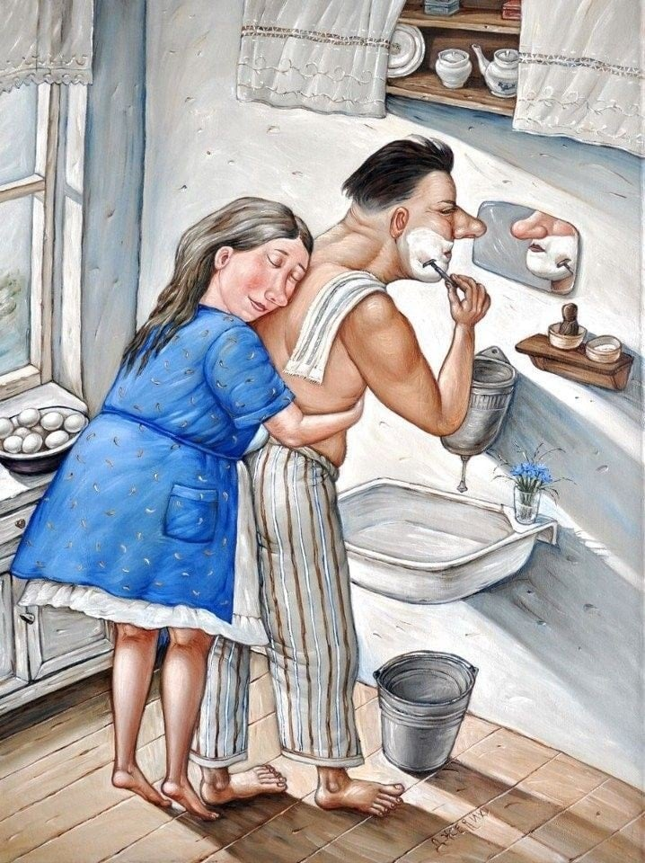 painting husband and wife funny by valentin gubarev