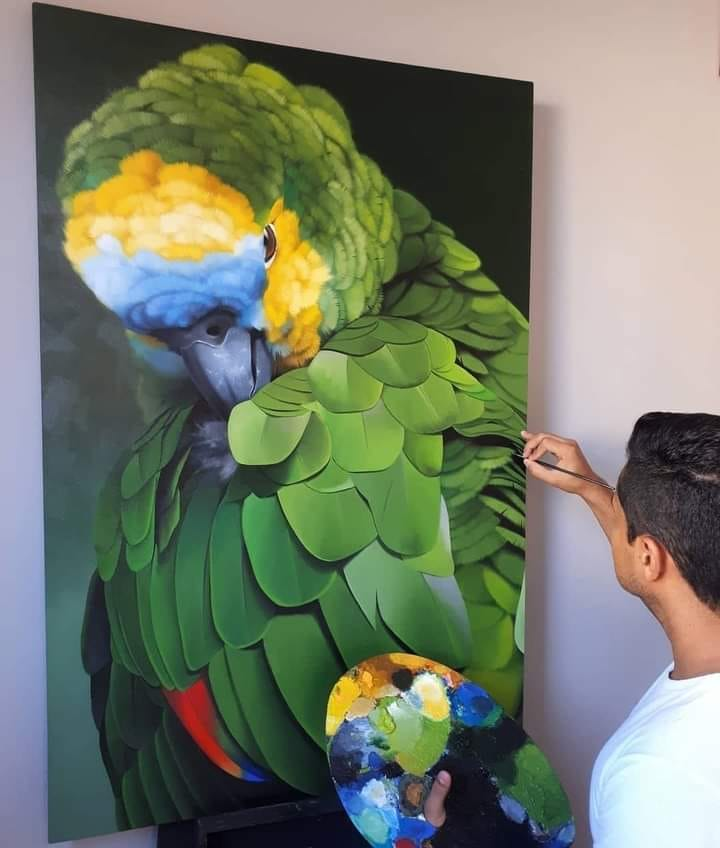 parrot acrylic painting hyper realistic by petterson silva
