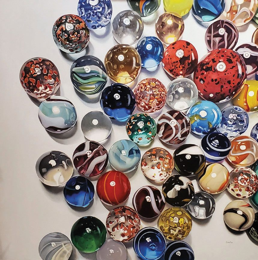 realistic oil painting crystal ball glass by john schieffer