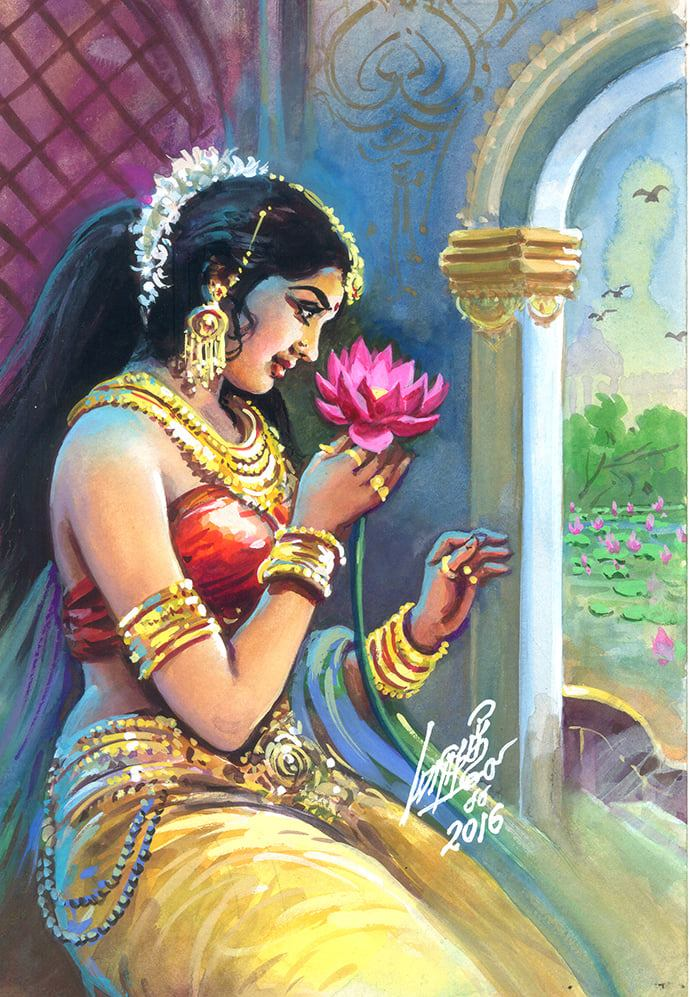 tamil woman painting by oviyar maruthi