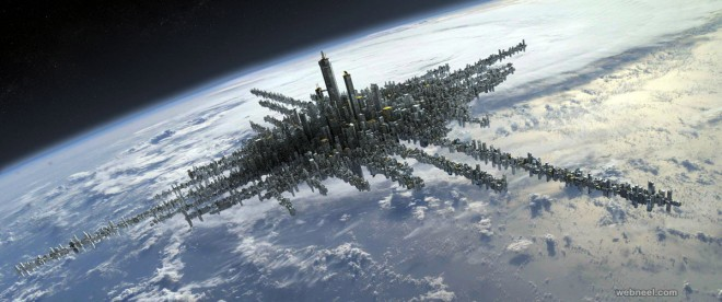 city above the clouds matte painting