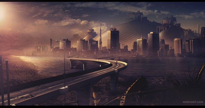 city matte painting