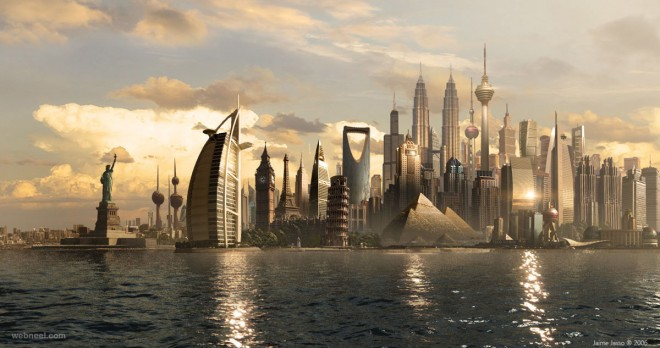 city matte painting by jjasso