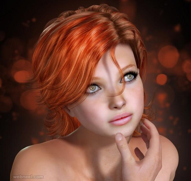 3d girl models character design