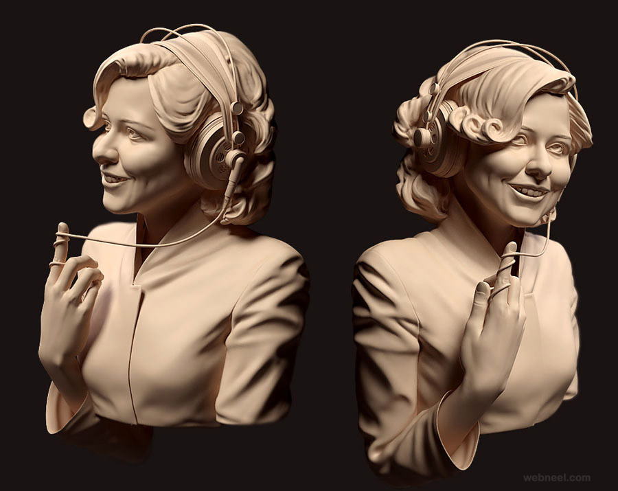girl 3dsmax  zbrush by andrei cristea