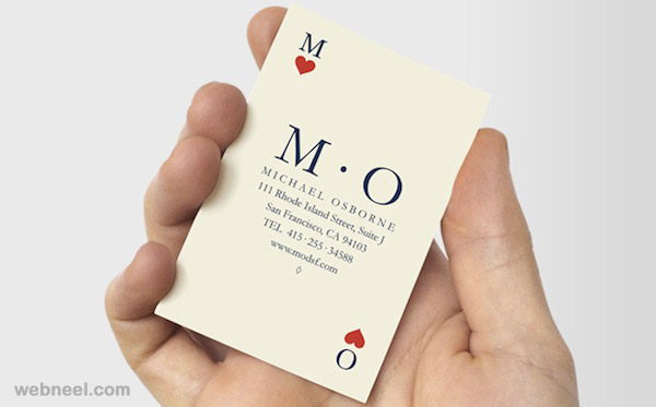 playing cards unusual business card