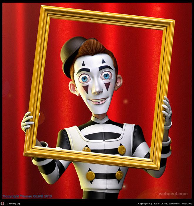 3d clown robot by titouan olive