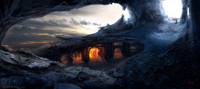 caves matte painting by reiko