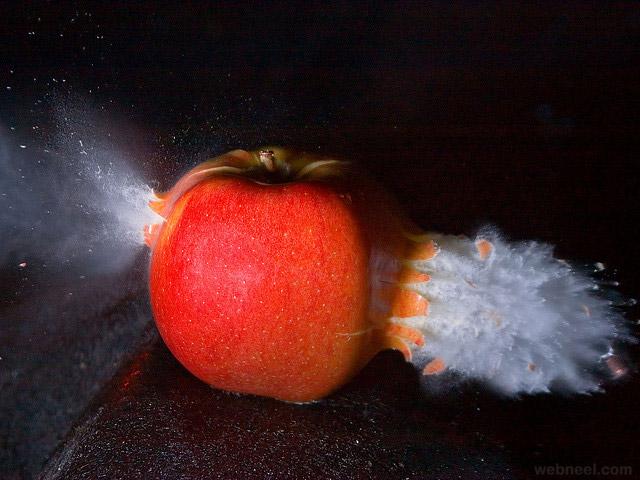 apple high speed photography