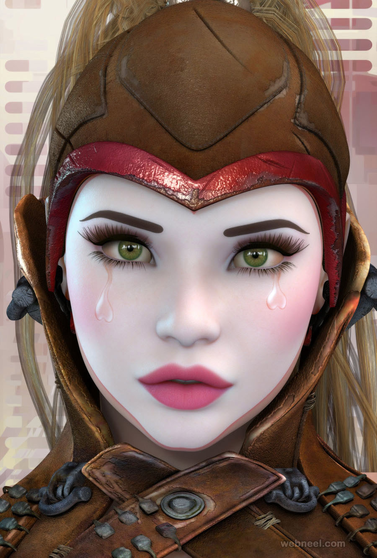 3d girl model character design by rgus